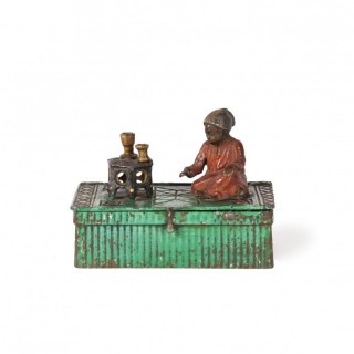 Viennese cold painted bronze box with Orientalist figure