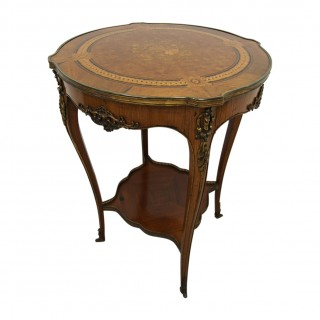 French Kingwood Parquetry and Marquetry Side Table