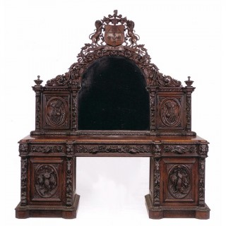 English Victorian period carved oak sideboard and mirror