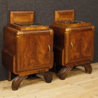 Pair Of Italian Bedside Tables In Walnut Wood with Marble Top Art Deco Style 20th Century