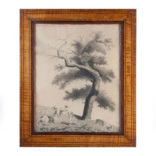 AN EARLY 19TH C DRAWING OF A TREE WITH DOGS