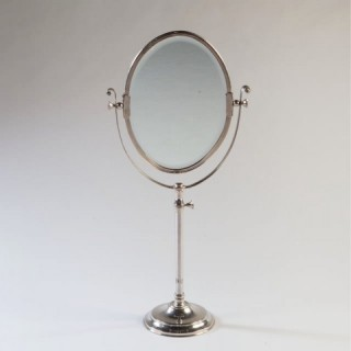 EDWARDIAN SILVER PLATED LARGE SCALE DRESSING MIRROR