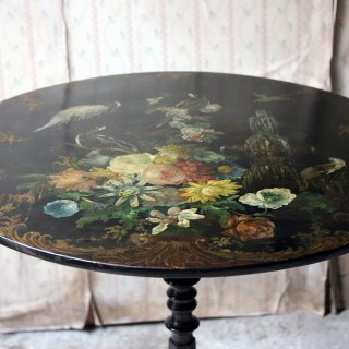 A Very Pretty Early Victorian Japanned Papier-Mâché Pedestal Table c.1840-50