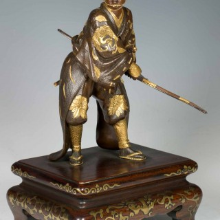 A HIGH QUALITY JAPANESE GILT BRONZE SAMURAI ARCHER SIGNED- MIYAO EISUKE