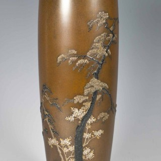 FINELY EXECUTED JAPANESE BRONZE AND MIXED METAL VASE BY YAMAMOTO KOKEN