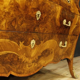 Italian Inlaid Chest Of Drawers With Marble Top In Louis XV Style 20th Century