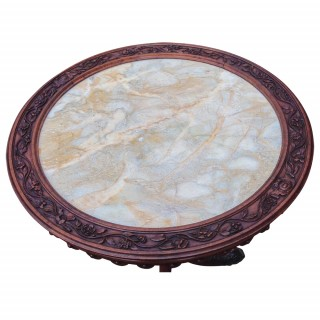 Antique Irish, Carved Walnut Fern or Occasional Table by Robert Strahan, Dublin
