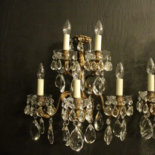 Italian Pair Of Gilded Five Arm Wall Lights