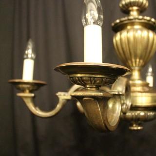 English Bronze 6 Light Antique Chandelier