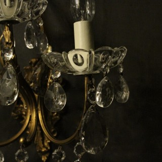 Italian Pair Of Gilded Triple Arm Wall Lights