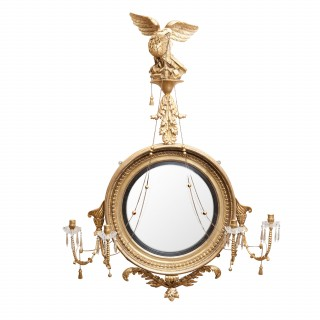 LARGE SCALE GILTWOOD REGENCY CONVEX MIRROR