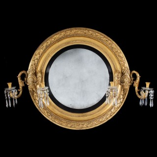 MONUMENTAL OVER SCALE REGENCY CONVEX GILTWOOD MIRROR