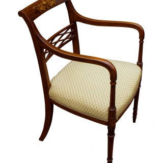Antique Satinwood and Marquetry Open Armchair