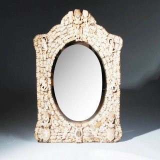 PRISONER OF WAR CARVED BONE MIRROR FROM DIEPPE