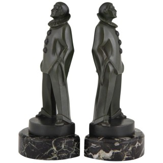 A pair of Art Deco Pierrot bookends
