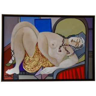 Painting of a nude with gold skirt holding a pink letter