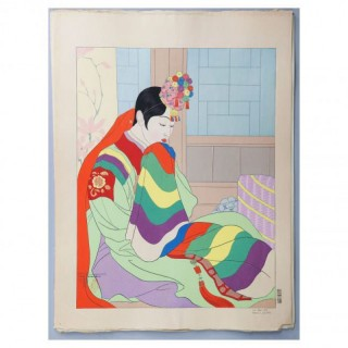 PAUL JACOULET, WOODBLOCK PRINT : LA MARIEE SEOUL, COREE