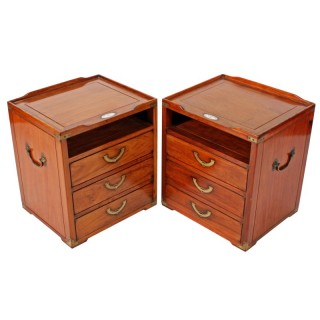 Pair of Campaign Style Side Cabinets