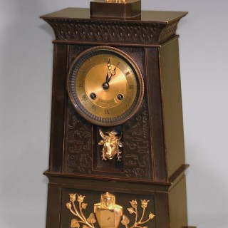 A French bronze and ormolu Egyptian style Clock
