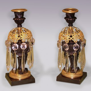 Antique pair of 19th Century bronze & ormolu Lustre Candlesticks.