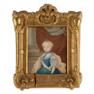 Portrait miniature of a Fredrika Charlotta Insenstierna (1757-1811), wearing the sash and order of the Vadstena adliga Jungfrustift, column background with draped fabric, c.1761