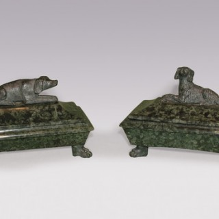 A pair of 19th Century marble 'Grand Tour' Inkwells.