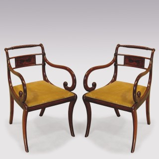 A fine quality pair of Regency period mahogany rope-twist Arm Chairs.