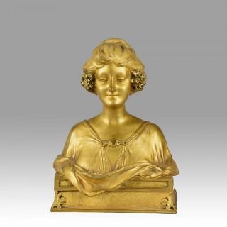 Maurice Bouval Art Nouveau Gilt Bronze Bust