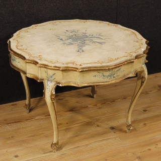 Venetian Coffee Table In Lacquered And Gilt Wood From 20th Century