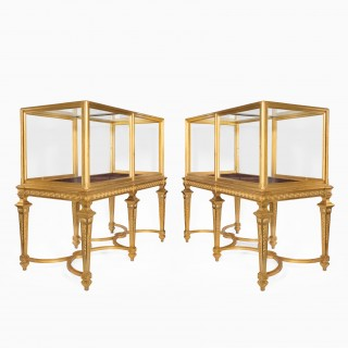 A rare and large pair of late Victorian giltwood museum cabinets