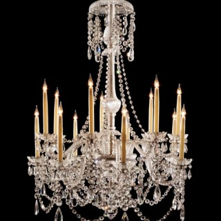14 LIGHT ANTIQUE CUT CRYSTAL CHANDELIER BY PERRY