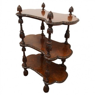 Unusual Style Victorian 3 Tier Burr Walnut Whatnot