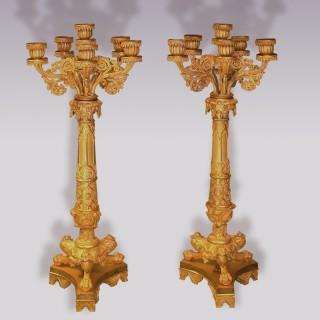 Pair of Regency period Gothic style ormolu Candelabra.
