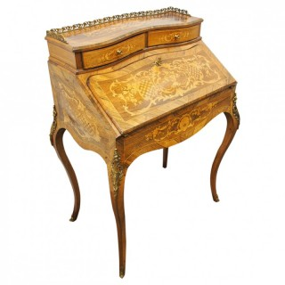 French Marquetry Inlaid Walnut Ladies Desk