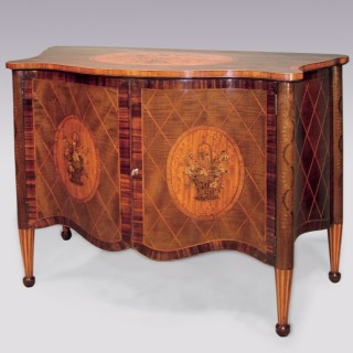 A fine 19th Century harewood serpentine Commode in the mid 18th Century style