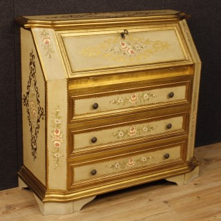 Italian Lacquered, Painted, Gilt Bureau In Wood from 20th Century