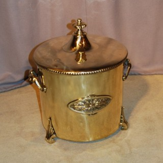 19th. century Brass Coal Bin and cover