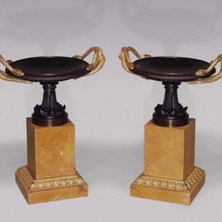 A large pair of early 19th Century bronze and ormolu Tazzas.
