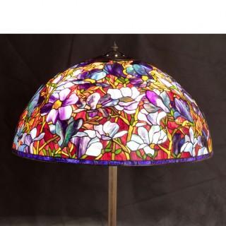 28 INCH HANDMADE TIFFANY STAINED GLASS MAGNOLIA FLOOR LAMP SHADE
