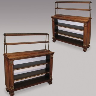 A pair of early 19th Century Regency period rosewood Open Bookshelves.