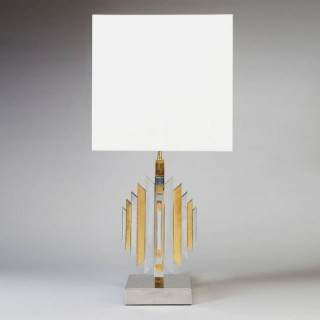 A BRASS AND CHROME ROMEO REGA STYLE TABLE LAMP
