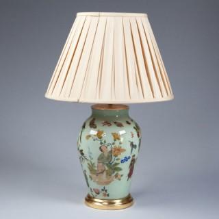 A FINE GREEN DECALCOMANIA VASE AS A LAMP