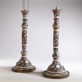 A LARGE PAIR OF DECORATIVE MOORISH ENAMEL LAMP BASES