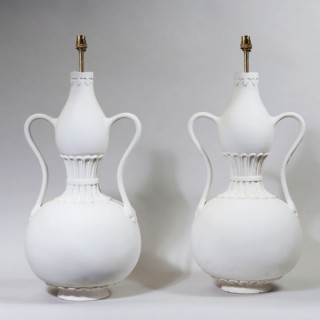 A PAIR OF DOUBLE GOURD LAMPS WITH SWAN NECK HANDLES