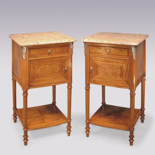 Antique pair of French late 19th Century satinwood Bedside Cabinets.