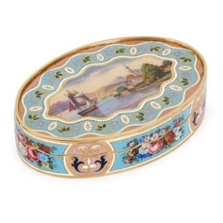 Swiss solid gold snuff box with enameled decorations