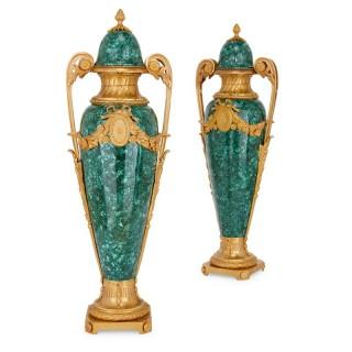 Pair of French gilt bronze mounted malachite vases