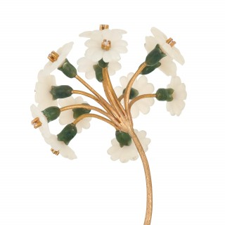 Precious stone Russian flower model in the Faberge style
