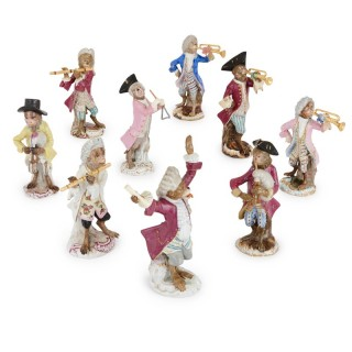 19th Century Meissen porcelain nine piece monkey band set