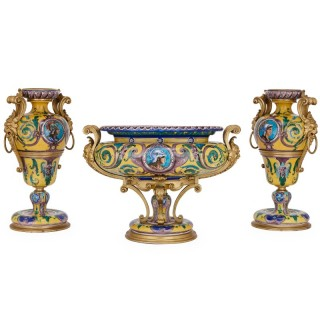 French git bronze mounted porcelain garniture set by Henry Dasson